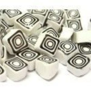 white black square 25 gram millefiori coe 104