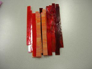 glasstroken 2x30 cm rood/oranje  mix per 10 stuks