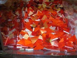 300 gr glasmozaiek gemengd rood/ oranje tinten