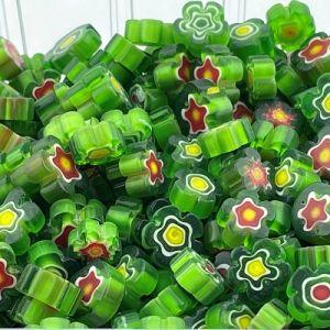 groene bloemvormig millifiori