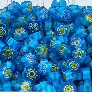 zeeblauwe bloemvormige millefiori mix