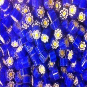 blue with flower 25 gram millefiori coe 104