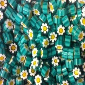 teal white daisy millefiori coe 104